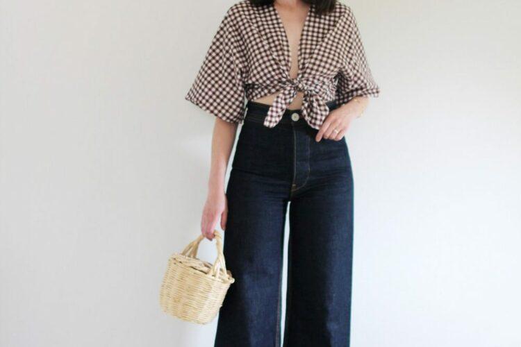 Style Bee - August Outfits - Look 7 - Gingham Tie Top + Dark Wide Leg Pants + Minimal Block Heel Shoes + Birkin Basket Bag + Raffia Earrings