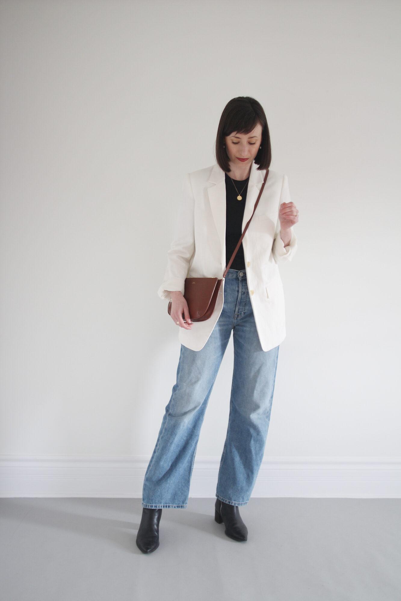 Style Bee - White Blazer Black Boots