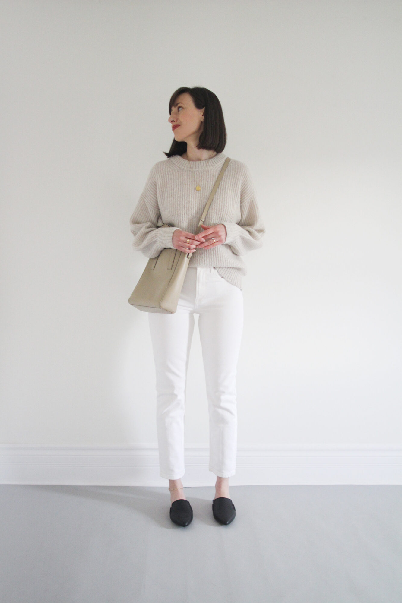 Style Bee - Light Knit & White Jeans