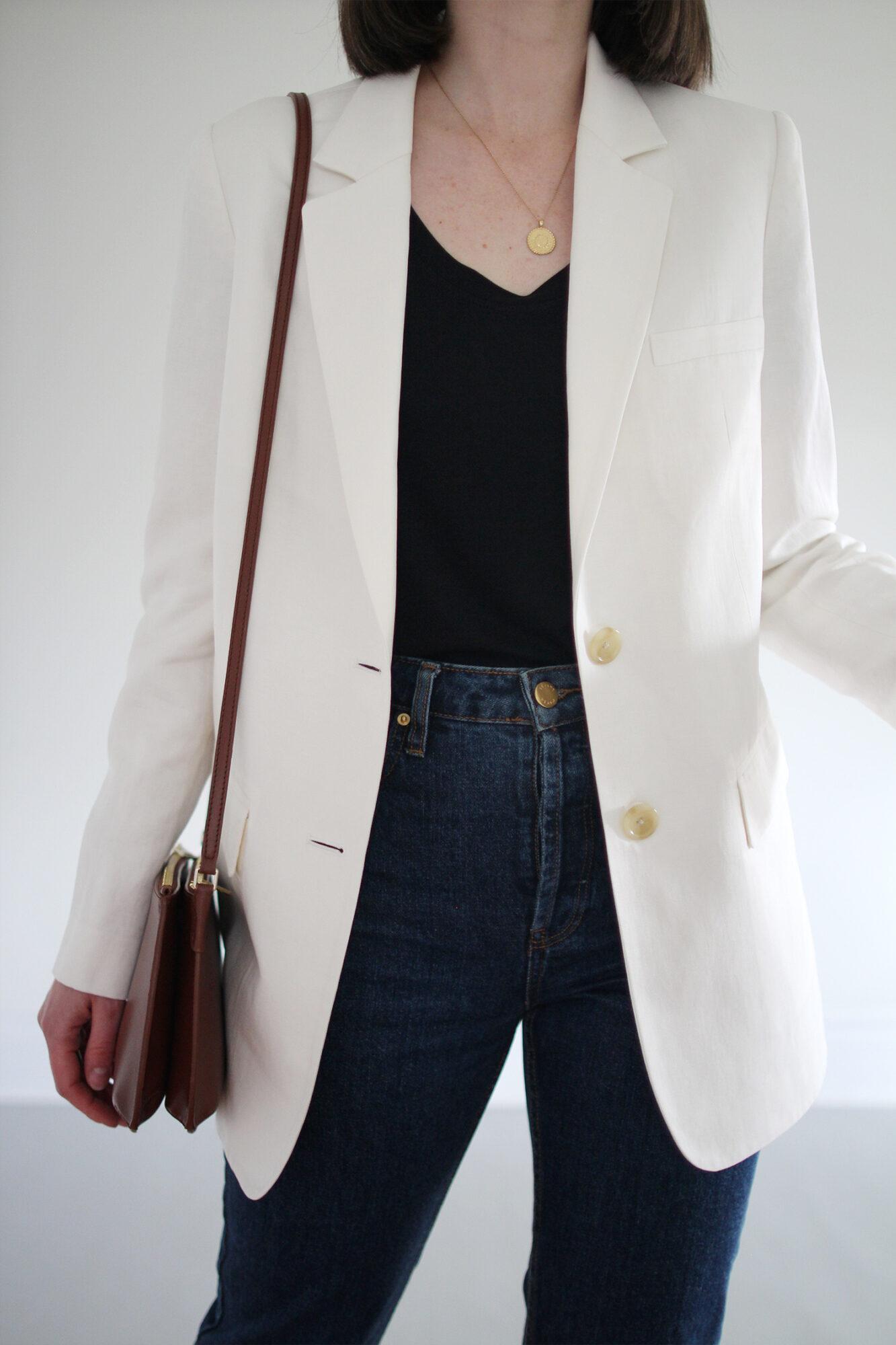 Style Bee - White Blazer & Blue Jeans