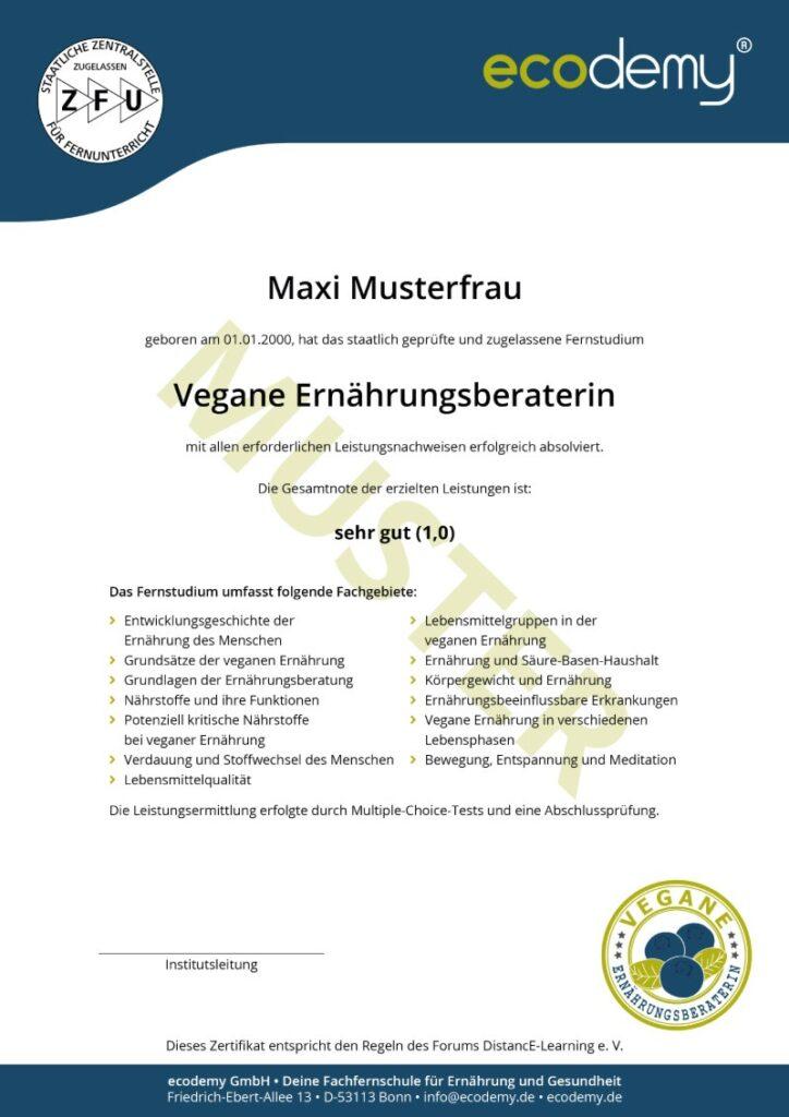 ecodemy Ausbildung veganer Ernährungsberater Zertifikat