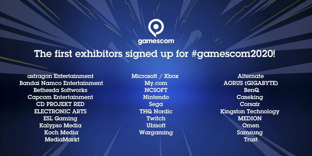 Gamescom 2020 Cologne Premiers participants