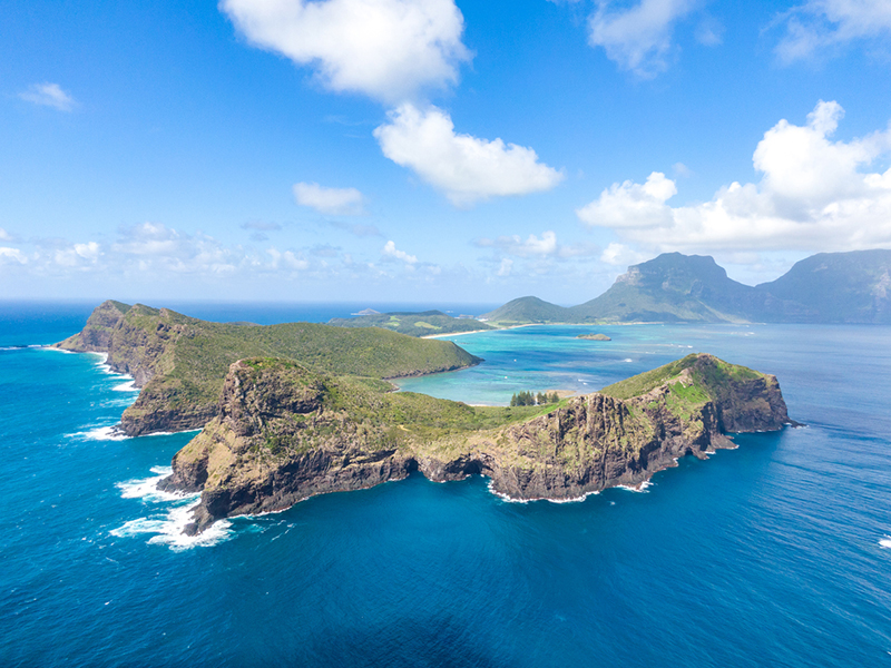 Stunning aerial panorama drone view of Lord Howe Island, a pacific subtropical island in the Tasman Sea between Australia and New Zealand. Lord Howe belongs to New South Wales, Australia.
