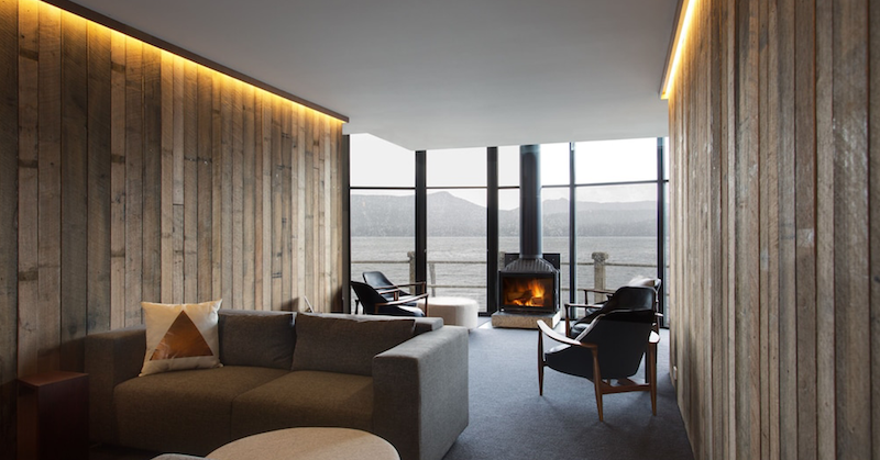 Image of a fireplace at Pumphouse Point