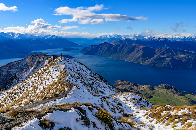 Roy's Peak covered with snow in winter, Wanaka, New Zealand