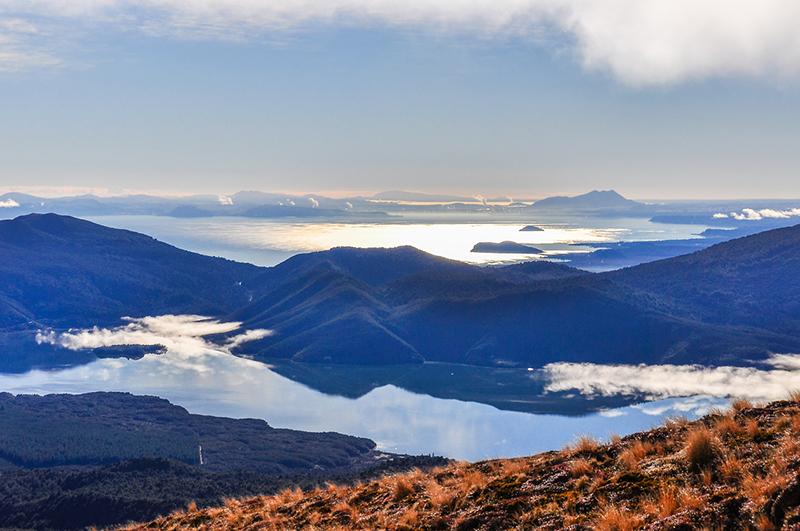 View of Lake Taupo and Lake Rotoaira in New Zealand