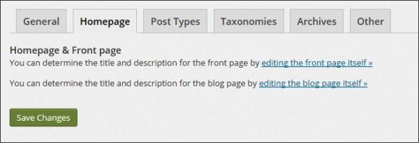 Tab Homepage này được thiết lập để đổi tiêu đề, Meta Description cho trang Web hoặc bài viết
