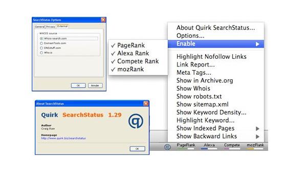 Tiện ích hỗ trợ SEO SearchStatus giúp hiển thị các chỉ số quan trọng và xếp hạng của trang Web.
