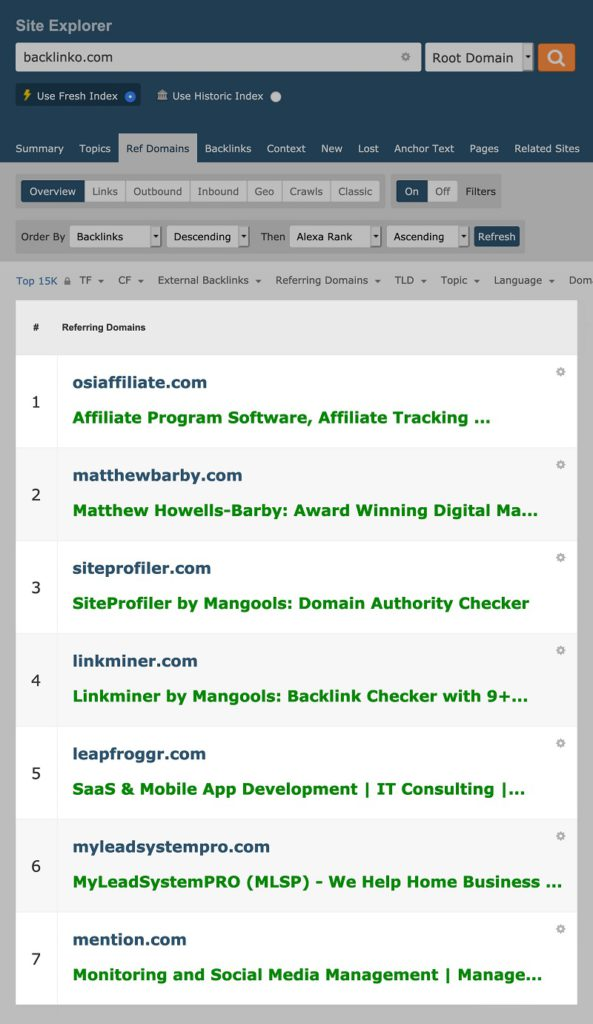 Tracking lượng Reffering Domain trong Majestic SEO