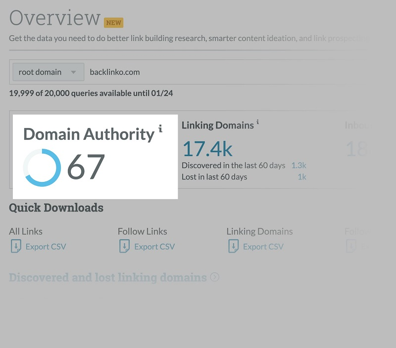 Tính năng Domain Authority của MozPro