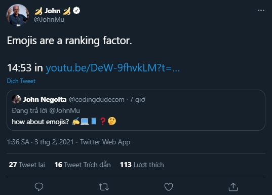 Emojis are a ranking factor.