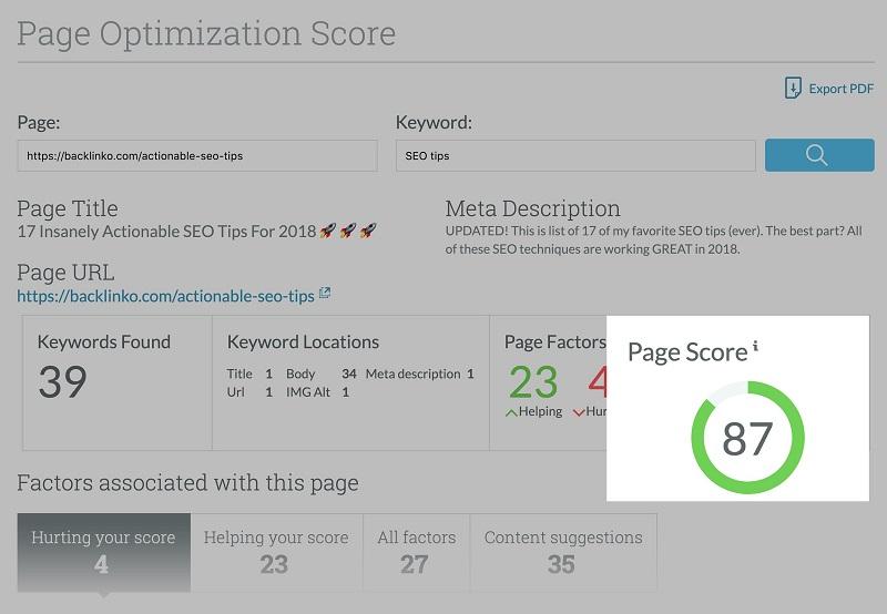 Tính năng Page Optimization giúp tối ưu SEO On-page