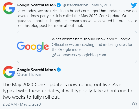 Google Core Update tháng 5/2020