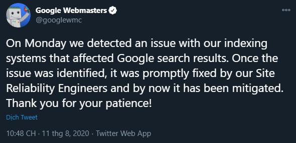 Lỗi hệ thống Index của Google tháng 8/2020