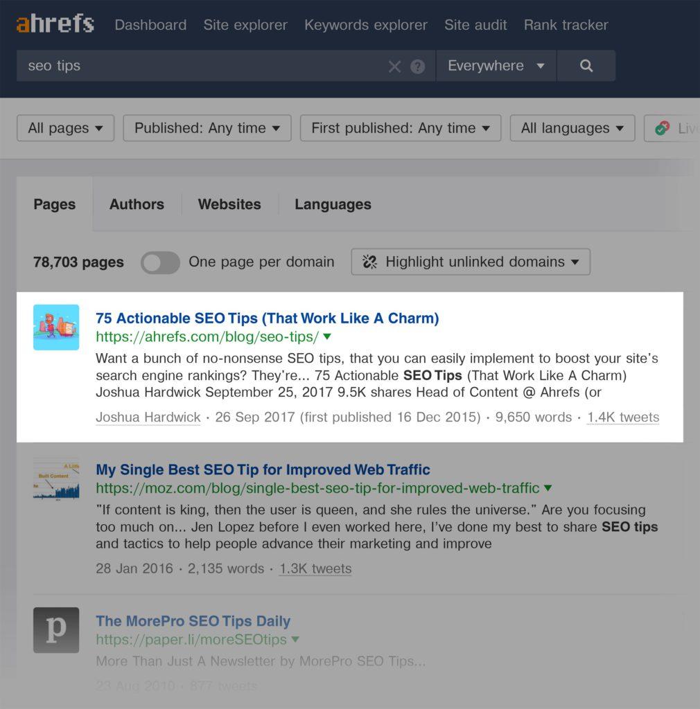 """Ví dụ về tạo lập content theo từ khóa """"SEO Tips"""""""