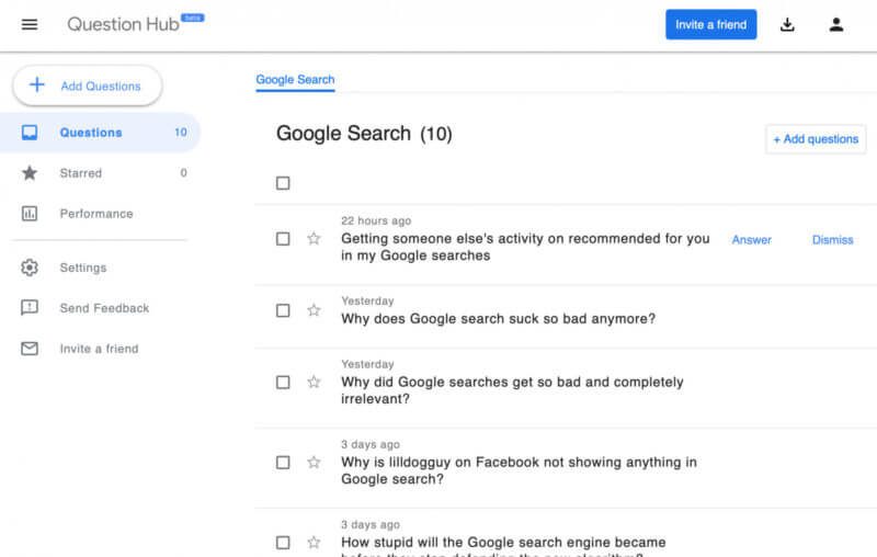 Tính năng Question Hub của Google