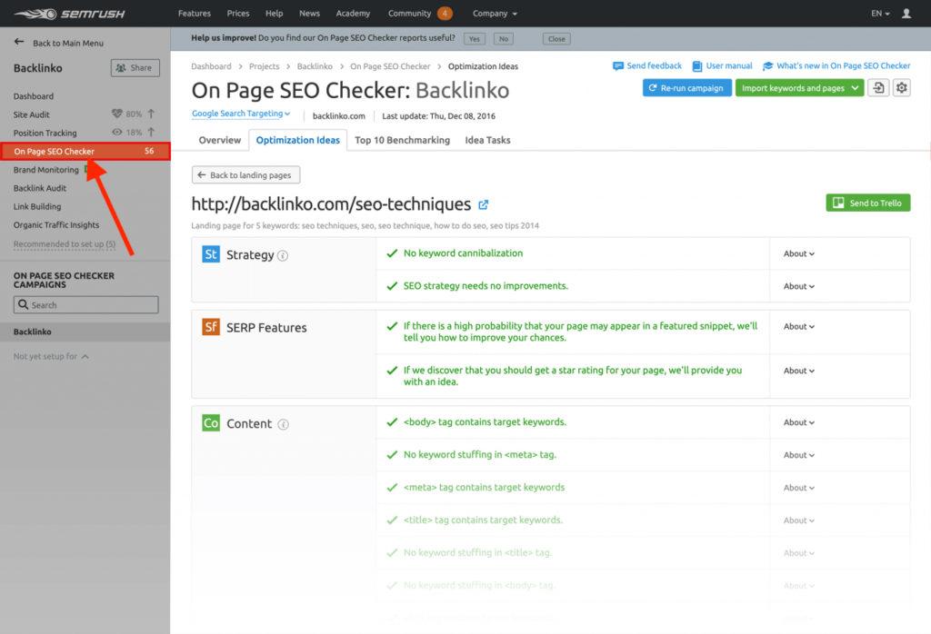 Tính năng On Page SEO Checker trên SEMrush.