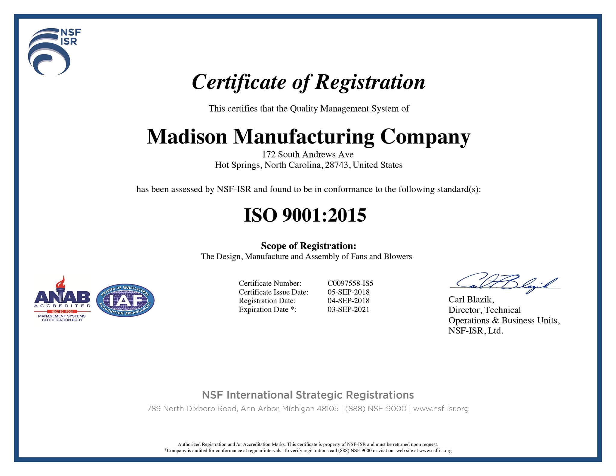 madison manufacturing company iso 9001 2015