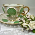 photo of vintage green tea cup set