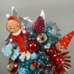 Retro Aqua & Red Christmas Elf Corsage