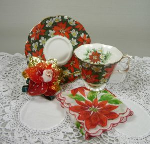 Poinsettia Tea Cup, Corsage, and Hankie Gift Set