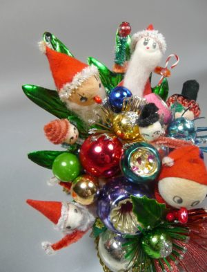 Vintage Mercury Glass and Spun Cotton Christmas Corsage