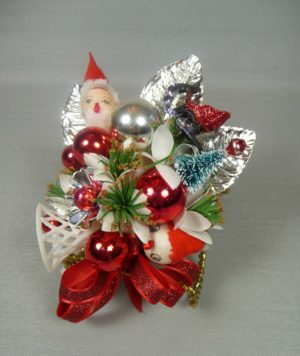 Retro Red and Silver Santa Corsage