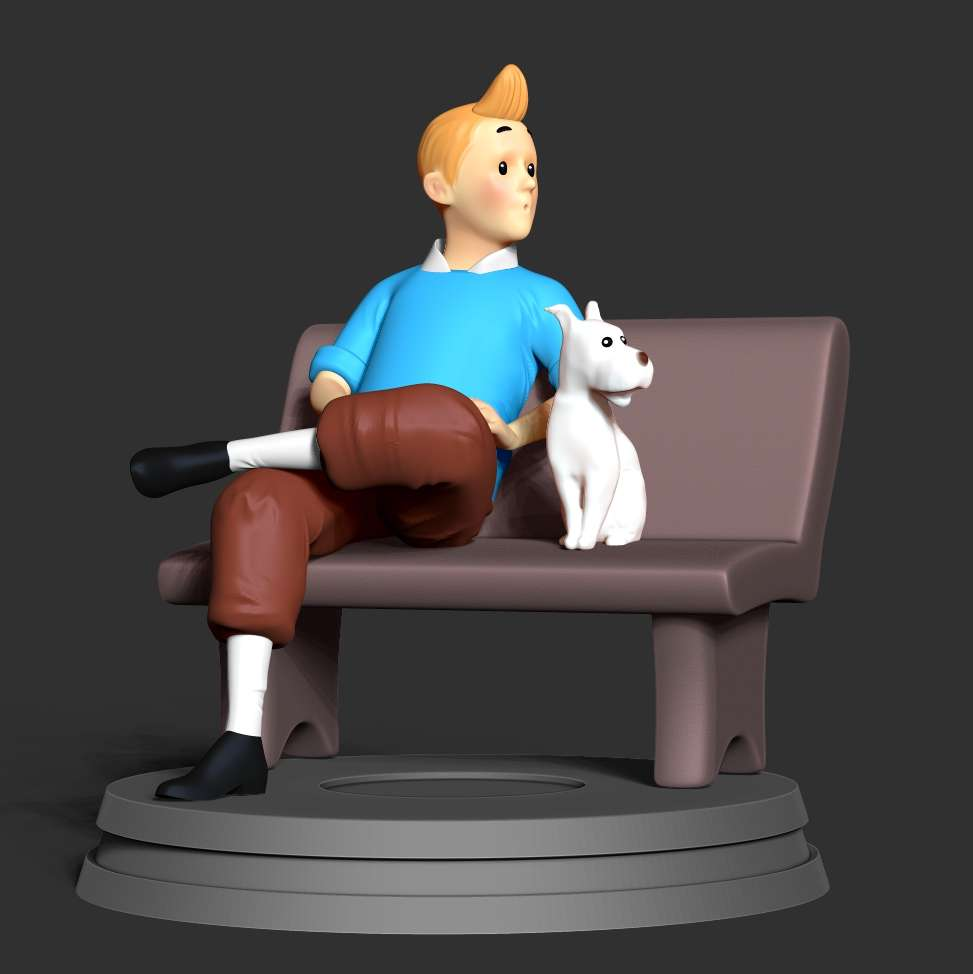 Tintin and snowy - As a child, every afternoon I kept my eyes on the screen expecting the television to watch Les Aventures de Tintin. Immerse yourself with the discoveries of Tintin and the little dog Snowy through each episode. Also unforgettable is Captain Haddock and 2 stupid detectives :)))  When you purchase this model, you will own:  - STL, OBJ file with 08 separated files (with key to connect together) is ready for 3D printing.  - Zbrush original files (ZTL) for you to customize as you like.  This is version 1.0 of this model.  Hope you like him. Thanks for viewing!     - The best files for 3D printing in the world. Stl models divided into parts to facilitate 3D printing. All kinds of characters, decoration, cosplay, prosthetics, pieces. Quality in 3D printing. Affordable 3D models. Low cost. Collective purchases of 3D files.