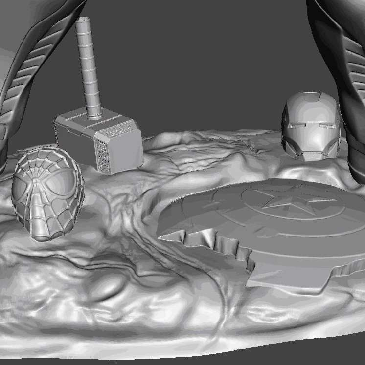 The dream of Thanos - Object created entirely in 3D, divided into parts to facilitate printing and to be able to generate a larger final product, which can be done on smaller printers. It uses invisible cutting technique, when assembled, you cannot see where it joins parts. Using pins to unite, which makes it easier if you want to transport. In this scene, Thanos imagines himself dominating the avengers and in his dream completely destroys them. Full file, high resolution, ready for 3d printing. Divided into parts, with fittings to resize to the size you want. - The best files for 3D printing in the world. Stl models divided into parts to facilitate 3D printing. All kinds of characters, decoration, cosplay, prosthetics, pieces. Quality in 3D printing. Affordable 3D models. Low cost. Collective purchases of 3D files.