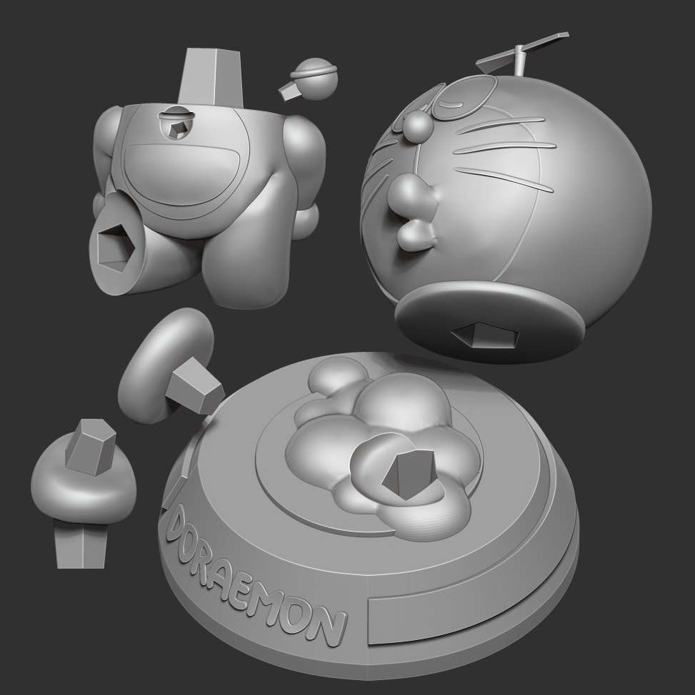 Doraemon - Doraemon is the best manga I read when I was a kid. And up to now, the value of the stories in Doraemon is still very much cherished.  When you purchase this model, you will own:  **- STL, OBJ file with 08 separated files (with key to connect together) is ready for 3D printing.**  **- Zbrush original files (ZTL) for you to customize as you like.**  _This is version 1.0 of this model._  Hope you like him. Thanks for viewing! - The best files for 3D printing in the world. Stl models divided into parts to facilitate 3D printing. All kinds of characters, decoration, cosplay, prosthetics, pieces. Quality in 3D printing. Affordable 3D models. Low cost. Collective purchases of 3D files.