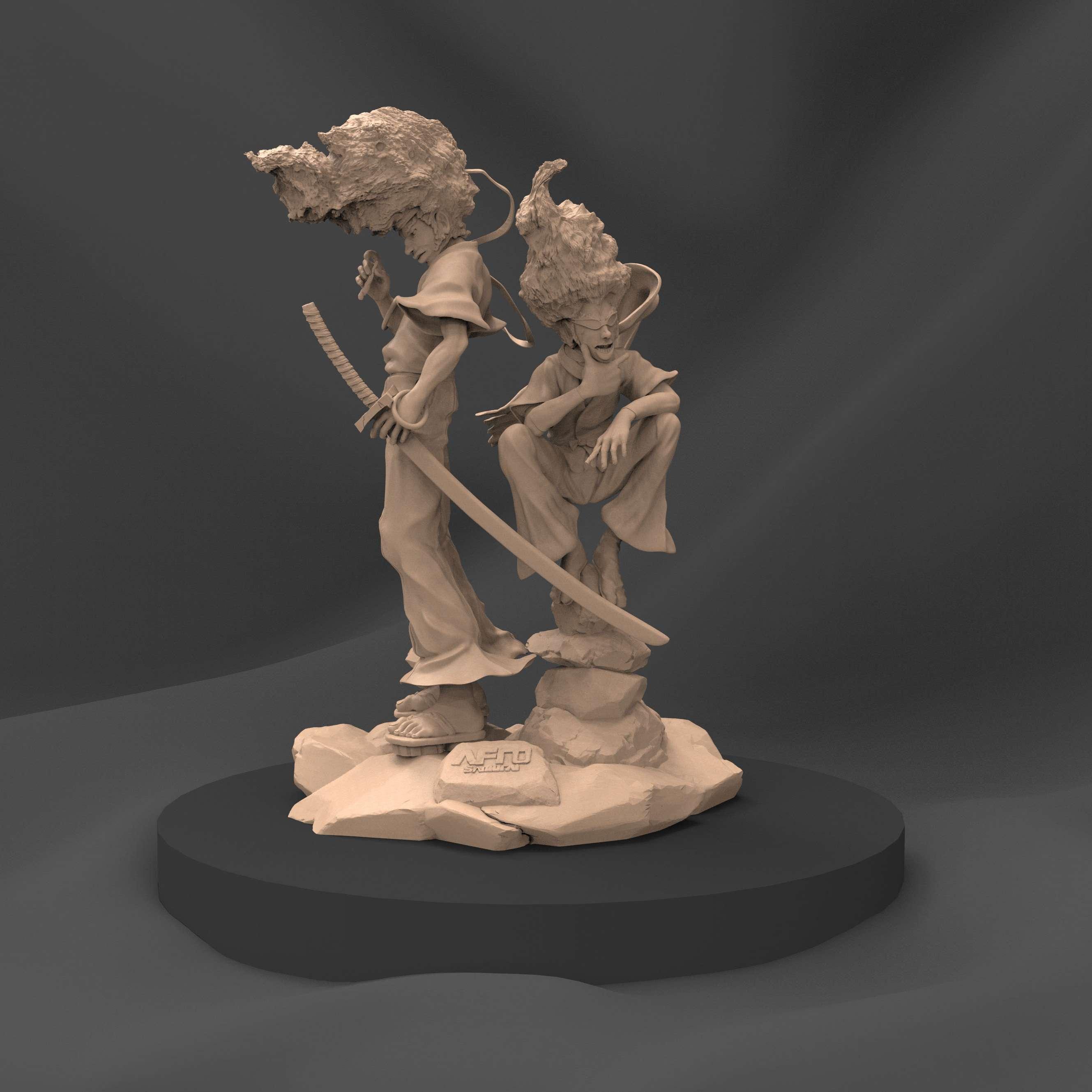 Afro Samurai - Sculpture of Afro Samurai and his ninja companion - Os melhores arquivos para impressão 3D do mundo. Modelos stl divididos em partes para facilitar a impressão 3D. Todos os tipos de personagens, decoração, cosplay, próteses, peças. Qualidade na impressão 3D. Modelos 3D com preço acessível. Baixo custo. Compras coletivas de arquivos 3D.