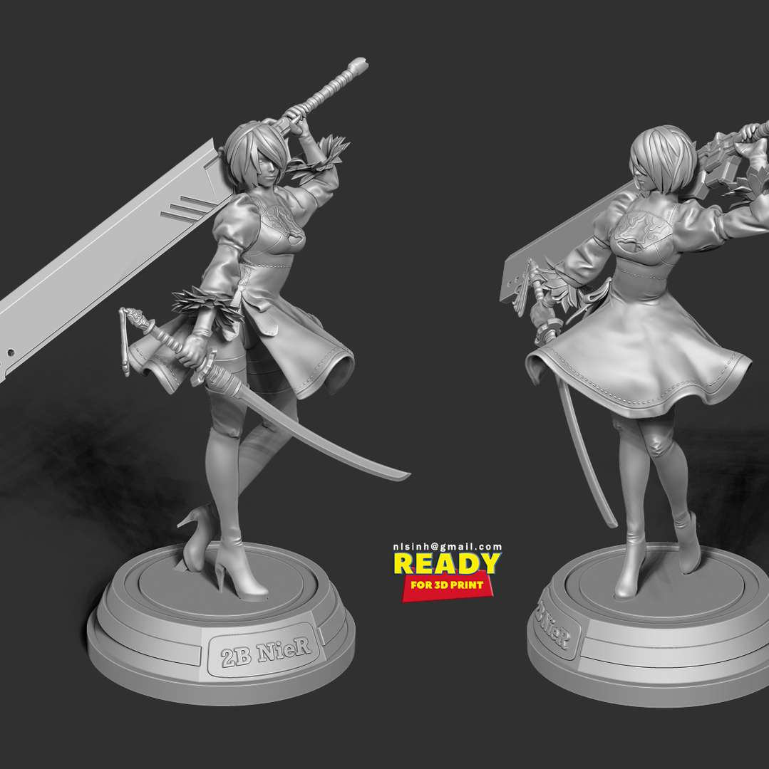 2B - Nier Fanart - 2B - Nier is an eternal topic for many artists to write. I love her very much and I hope you too. This model have 2 version: head with and without ribbon.  Based on a concept art: https://www.deviantart.com/ask-theangelofsouls/art/Horror-Brawl-Request-486-2B-665506562  When you purchase this model, you will own:  - STL file with 08 separated files (with key to connect together) is ready for 3D printing.  - Zbrush original files (ZTL) for you to customize as you like. (DM me if you want)  - 19th July, 2019: This is version 1.0  - 22nd May, 2021: version 1.2: *Reprocess all model objects and adding details makes the model look better when printed.  Thanks for your viewing!   - Os melhores arquivos para impressão 3D do mundo. Modelos stl divididos em partes para facilitar a impressão 3D. Todos os tipos de personagens, decoração, cosplay, próteses, peças. Qualidade na impressão 3D. Modelos 3D com preço acessível. Baixo custo. Compras coletivas de arquivos 3D.