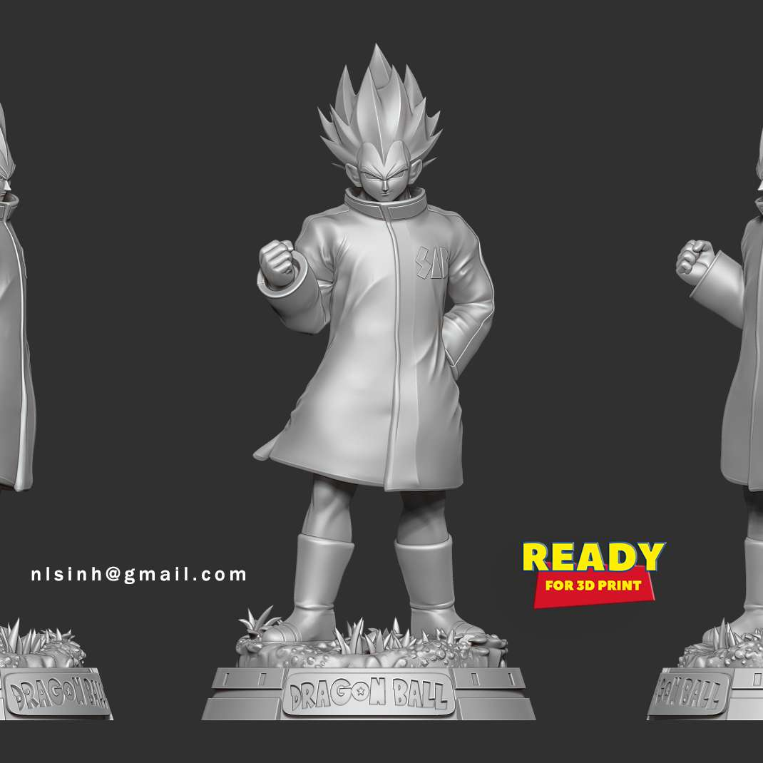 Vegeta In A Green Coat - I hope you enjoy my model. And if you have a 3D print, please send me the picture.  When you purchase this model, you will own:  **- OBJ, STL files with 07 parts are ready for 3D printing.**  **- Zbrush original files (ZTL) for you to customize as you like.**  _This is version 1.0 of this model._  Thank you for watching!  - The best files for 3D printing in the world. Stl models divided into parts to facilitate 3D printing. All kinds of characters, decoration, cosplay, prosthetics, pieces. Quality in 3D printing. Affordable 3D models. Low cost. Collective purchases of 3D files.