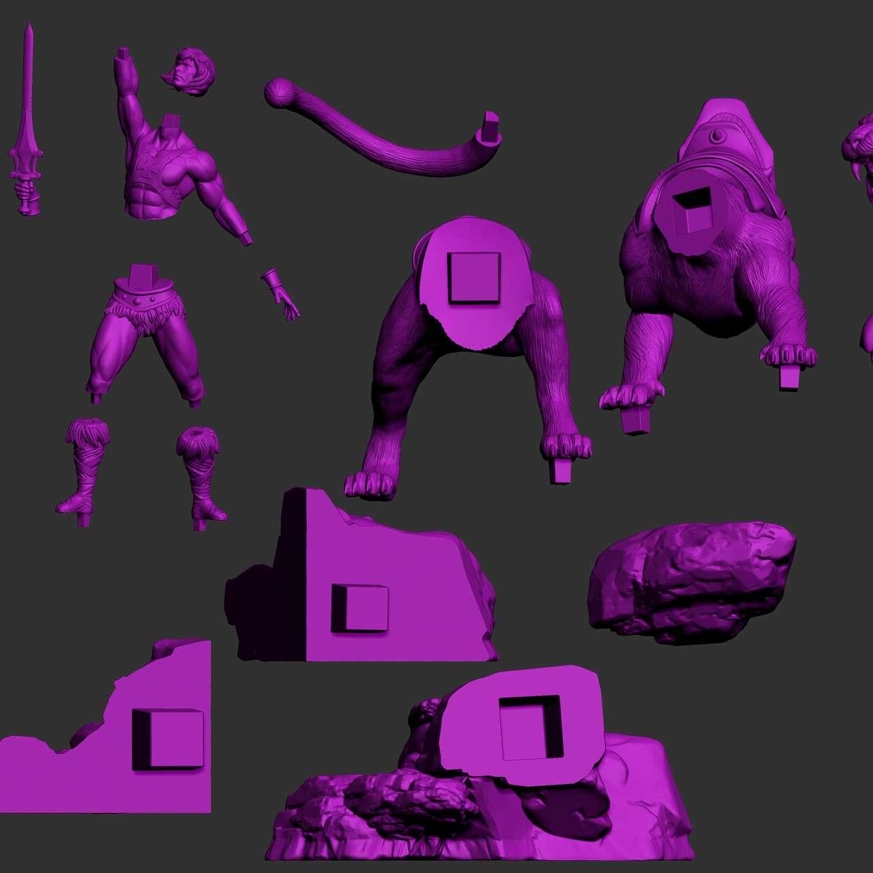 He-Man - File ready for printing 16 STL files ready for printing Model cut and prepared with plug-in pins for printing Height: 20cm - Os melhores arquivos para impressão 3D do mundo. Modelos stl divididos em partes para facilitar a impressão 3D. Todos os tipos de personagens, decoração, cosplay, próteses, peças. Qualidade na impressão 3D. Modelos 3D com preço acessível. Baixo custo. Compras coletivas de arquivos 3D.