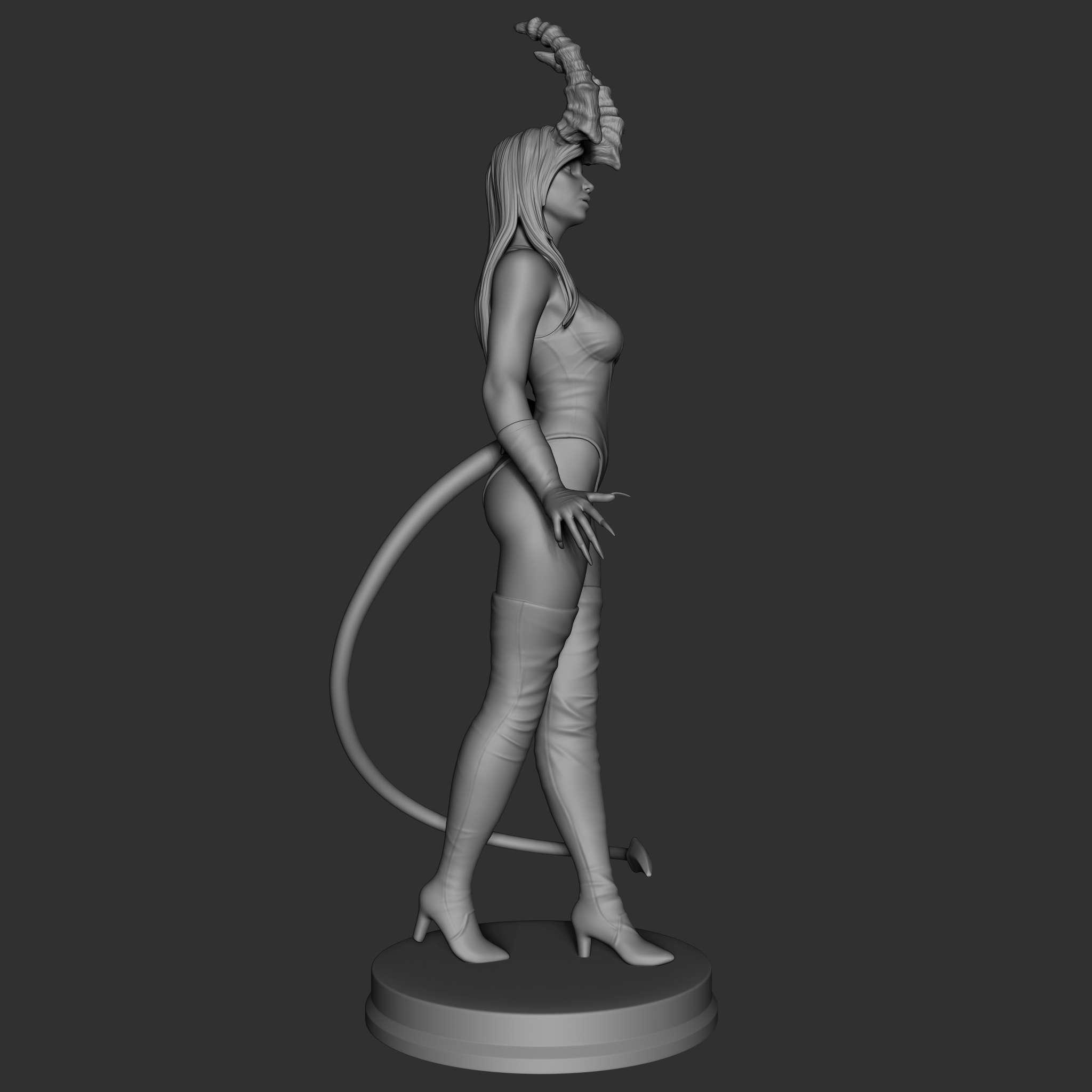 Demon Lady - This is Demon lady. she is very excited for you to take her home to decorate your shelves in an elegant and sexy way and make you company. I also made the .ztl file available. feel free to ask me for changes or a new model if my job pleases you, i'm available.  Height= 25cm - Los mejores archivos para impresión 3D del mundo. Modelos Stl divididos en partes para facilitar la impresión 3D. Todo tipo de personajes, decoración, cosplay, prótesis, piezas. Calidad en impresión 3D. Modelos 3D asequibles. Bajo costo. Compras colectivas de archivos 3D.