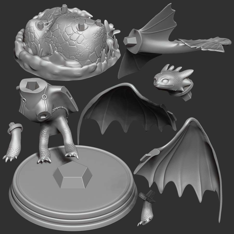 Toothless  Fanart - Previously, I had a version of Toothless but it was difficult to print. Now I have broken it up into small pieces and has joints that make it easy to join.  I have divided the 10 individual parts to make it easy for 3D printing:  **- OBJ, STL files are ready for 3D printing.**  **- Zbrush original files for you to customize as you like.**  _This is version 1.1 of this model._  Thanks very much for viewing my model. Hope you guys like him. - The best files for 3D printing in the world. Stl models divided into parts to facilitate 3D printing. All kinds of characters, decoration, cosplay, prosthetics, pieces. Quality in 3D printing. Affordable 3D models. Low cost. Collective purchases of 3D files.