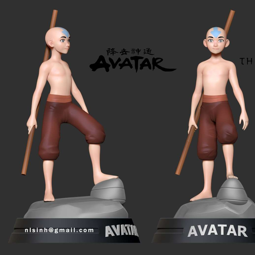 Aang - The last airbender Fanart - > Avatar Aang (Chinese: 安昂; pinyin: Ān Áng) is a fictional character and the protagonist of Nickelodeon's animated television series Avatar: The Last Airbender (created by Michael Dante DiMartino and Bryan Konietzko), voiced by Zach Tyler Eisen. Aang is the last surviving Airbender, a monk of the Air Nomads' Southern Air Temple. - quotes from Wikipedia  When you purchase this model, you will own:  **- STL files with 07 parts are ready for 3D printing.**  _This is version 1.0 of this model._  Thank you for watching! - Los mejores archivos para impresión 3D del mundo. Modelos Stl divididos en partes para facilitar la impresión 3D. Todo tipo de personajes, decoración, cosplay, prótesis, piezas. Calidad en impresión 3D. Modelos 3D asequibles. Bajo costo. Compras colectivas de archivos 3D.