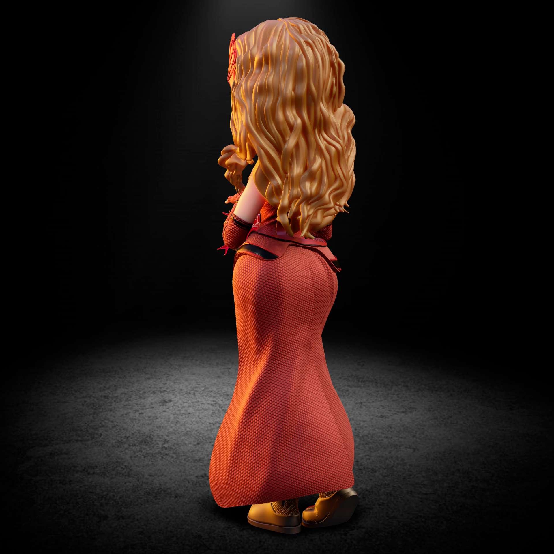 Scarlet Witch - Wanda Maximoff, also known as Scarlet Witch stylized model with new uniform from the Wanda Vision series.  - Os melhores arquivos para impressão 3D do mundo. Modelos stl divididos em partes para facilitar a impressão 3D. Todos os tipos de personagens, decoração, cosplay, próteses, peças. Qualidade na impressão 3D. Modelos 3D com preço acessível. Baixo custo. Compras coletivas de arquivos 3D.