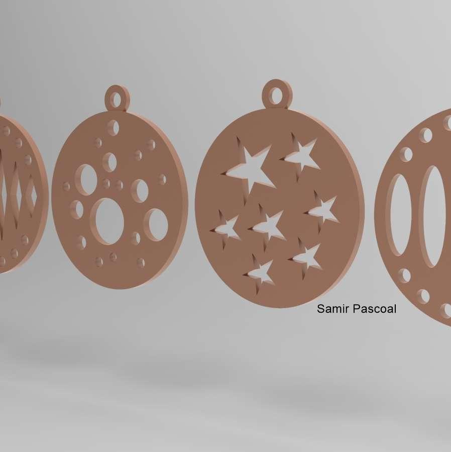 bolinhas de natal_1 - 5 modelos de bolinhas de natal impressas todas no plano sem suporte - Los mejores archivos para impresión 3D del mundo. Modelos Stl divididos en partes para facilitar la impresión 3D. Todo tipo de personajes, decoración, cosplay, prótesis, piezas. Calidad en impresión 3D. Modelos 3D asequibles. Bajo costo. Compras colectivas de archivos 3D.