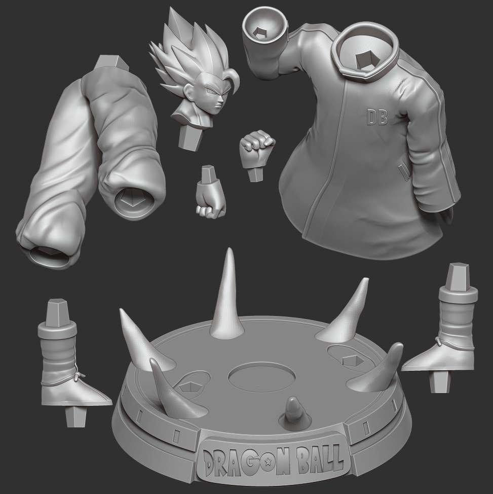 Goku in a blue jacket - > I really like Goku in this suit, he looks cool. I hope you enjoy my model. And if you have a 3D print, please send me the picture.  When you purchase this model, you will own:  **- STL files with 08 parts are ready for 3D printing.**  _This is version 1.0 of this model._  Thank you for watching!  - Os melhores arquivos para impressão 3D do mundo. Modelos stl divididos em partes para facilitar a impressão 3D. Todos os tipos de personagens, decoração, cosplay, próteses, peças. Qualidade na impressão 3D. Modelos 3D com preço acessível. Baixo custo. Compras coletivas de arquivos 3D.