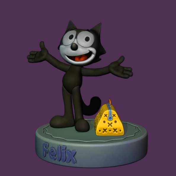 Gato Félix - to relive childhood and remember this fantastic character, the felix cat. - Os melhores arquivos para impressão 3D do mundo. Modelos stl divididos em partes para facilitar a impressão 3D. Todos os tipos de personagens, decoração, cosplay, próteses, peças. Qualidade na impressão 3D. Modelos 3D com preço acessível. Baixo custo. Compras coletivas de arquivos 3D.