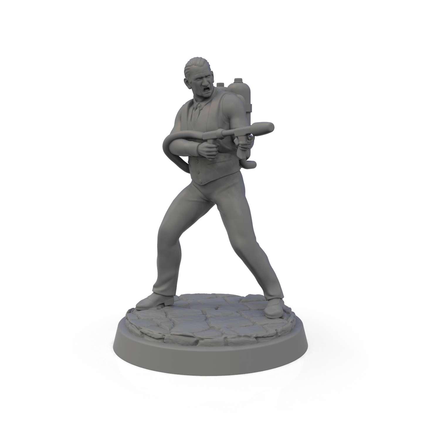 Call Of Cthulhu Miniature - Call Of Cthulhu Collection. 1 Exorcist 1 Scientist 1 Ex-soldier with Flamethrower 1 Boxing Fighter  STL for RPG miniatures 33mm and 70mm - Los mejores archivos para impresión 3D del mundo. Modelos Stl divididos en partes para facilitar la impresión 3D. Todo tipo de personajes, decoración, cosplay, prótesis, piezas. Calidad en impresión 3D. Modelos 3D asequibles. Bajo costo. Compras colectivas de archivos 3D.