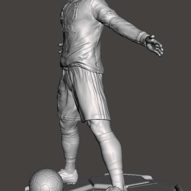 CR7 football player - Object created entirely in 3D, divided into parts to facilitate printing and to be able to generate a larger final product, which can be done on smaller printers. It uses invisible cutting technique, when assembled, you cannot see where it joins parts. Using pins to unite, which makes it easier if you want to transport. The world's number one player now at your fingertips. Print at home in high resolution. Split file, allowing printing in large sizes. Invisible cutting technique where you can't see the junctions. - The best files for 3D printing in the world. Stl models divided into parts to facilitate 3D printing. All kinds of characters, decoration, cosplay, prosthetics, pieces. Quality in 3D printing. Affordable 3D models. Low cost. Collective purchases of 3D files.