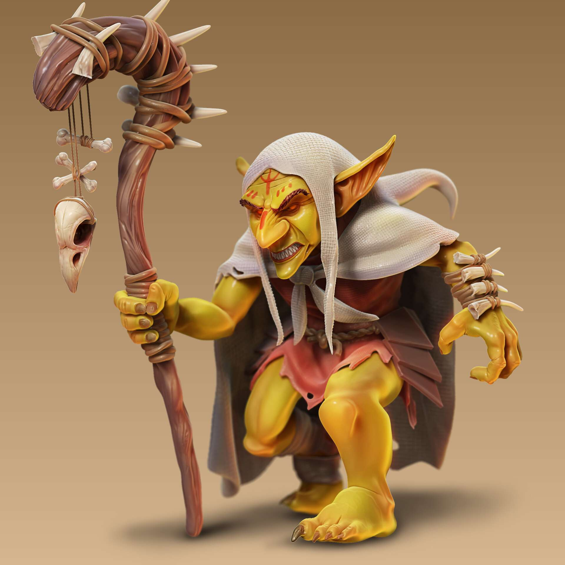 Goblin - Miniature for RPG Goblin 33mm - The best files for 3D printing in the world. Stl models divided into parts to facilitate 3D printing. All kinds of characters, decoration, cosplay, prosthetics, pieces. Quality in 3D printing. Affordable 3D models. Low cost. Collective purchases of 3D files.