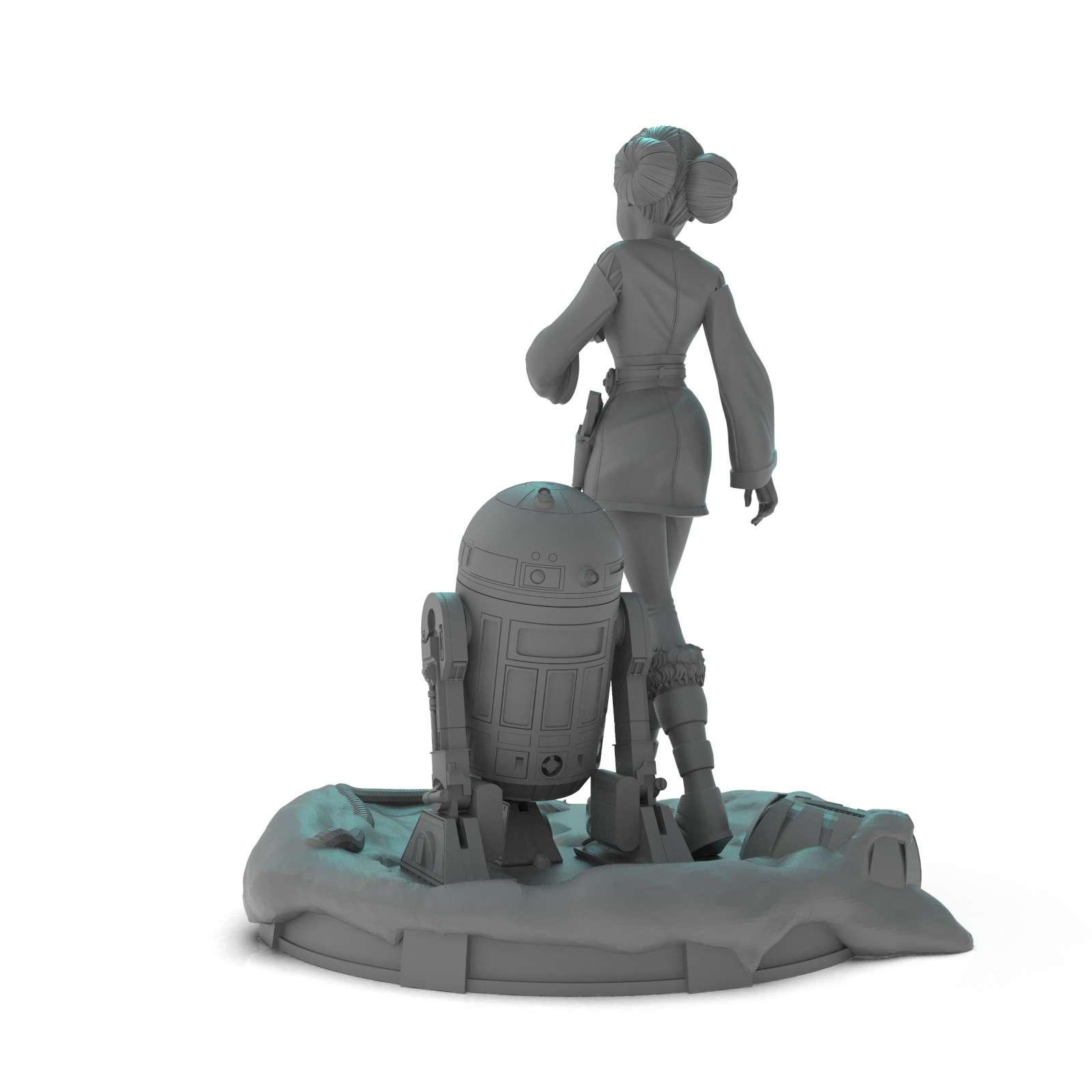 Padme and R2 -  Padmé Amidala (Star Wars) + R2D2 + Base height 25cm 16-part model with plug-in plugs compatible with resin printer with printing area 68mm x 120mm x 150 - Os melhores arquivos para impressão 3D do mundo. Modelos stl divididos em partes para facilitar a impressão 3D. Todos os tipos de personagens, decoração, cosplay, próteses, peças. Qualidade na impressão 3D. Modelos 3D com preço acessível. Baixo custo. Compras coletivas de arquivos 3D.
