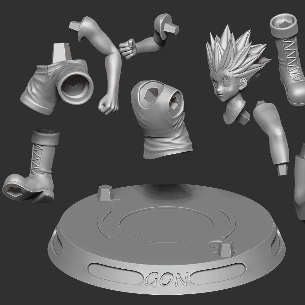 Gon Freecss - Hunter x hunter - I have divided the 10 individual parts to make it easy for 3D printing:  **- OBJ, STL files are ready for 3D printing.**  **- Zbrush original files for you to customize as you like.**  _This is version 1.0 of this model._  Thanks very much for viewing my model. Hope you guys like him. - Os melhores arquivos para impressão 3D do mundo. Modelos stl divididos em partes para facilitar a impressão 3D. Todos os tipos de personagens, decoração, cosplay, próteses, peças. Qualidade na impressão 3D. Modelos 3D com preço acessível. Baixo custo. Compras coletivas de arquivos 3D.