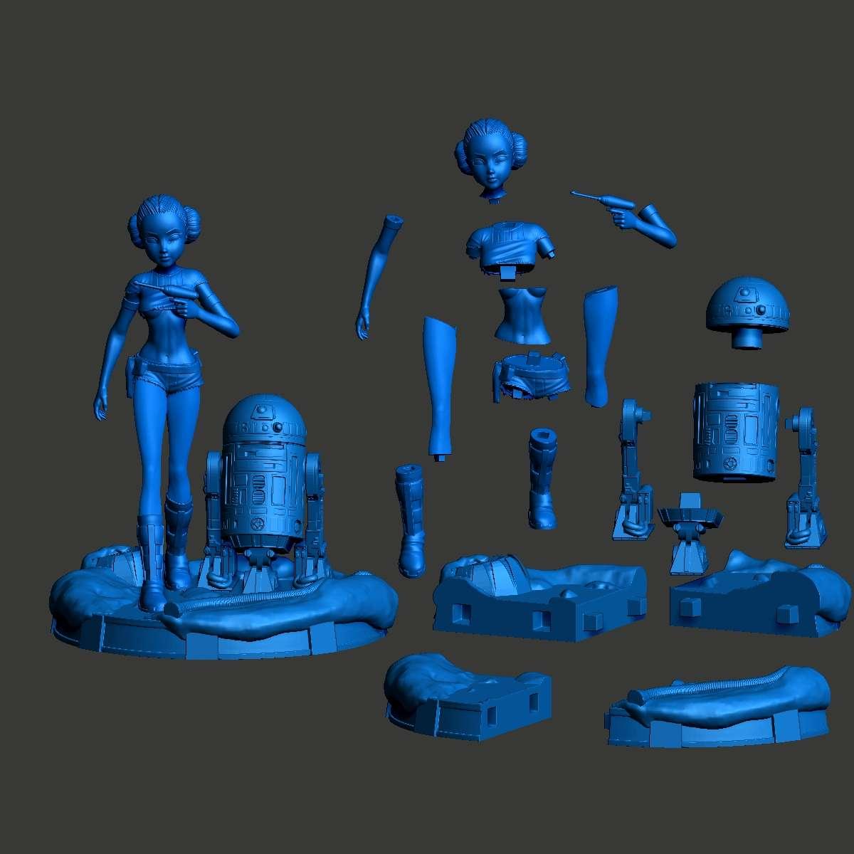 Padmé Amidala Sexy Version - Padmé Amidala (Star Wars) + R2D2 + Base height 25cm 16-part model with plug-in plugs compatible with resin printer with printing area 68mm x 120mm x 150   - Los mejores archivos para impresión 3D del mundo. Modelos Stl divididos en partes para facilitar la impresión 3D. Todo tipo de personajes, decoración, cosplay, prótesis, piezas. Calidad en impresión 3D. Modelos 3D asequibles. Bajo costo. Compras colectivas de archivos 3D.