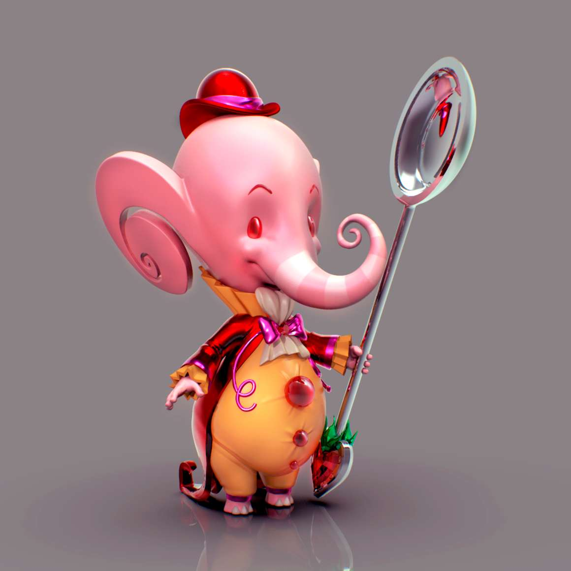 Pink Elephant - Adorable Pink Elephant and his love for silver spoons. - The best files for 3D printing in the world. Stl models divided into parts to facilitate 3D printing. All kinds of characters, decoration, cosplay, prosthetics, pieces. Quality in 3D printing. Affordable 3D models. Low cost. Collective purchases of 3D files.