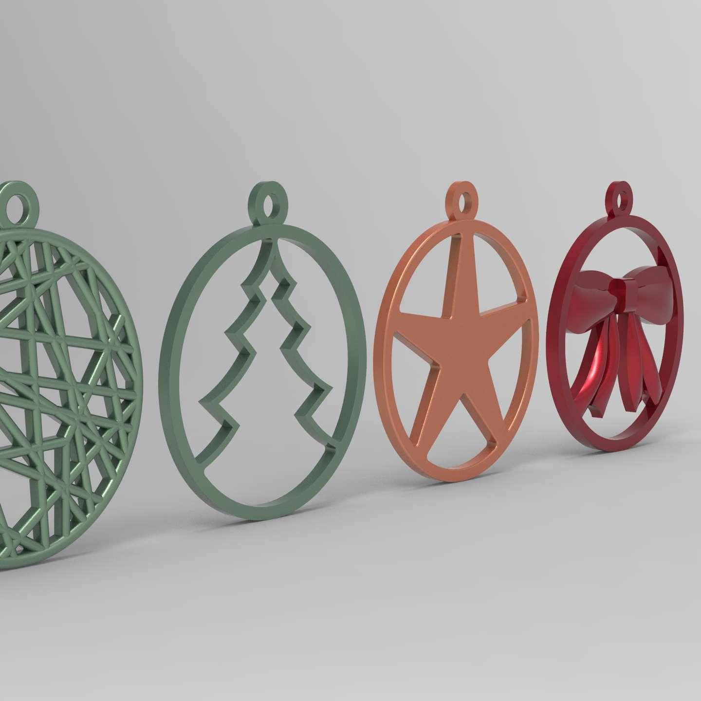 Bolinhas Natal_2 - 5 modelos de bolinhas de natal, impressos todos no plano sem suporte - Los mejores archivos para impresión 3D del mundo. Modelos Stl divididos en partes para facilitar la impresión 3D. Todo tipo de personajes, decoración, cosplay, prótesis, piezas. Calidad en impresión 3D. Modelos 3D asequibles. Bajo costo. Compras colectivas de archivos 3D.