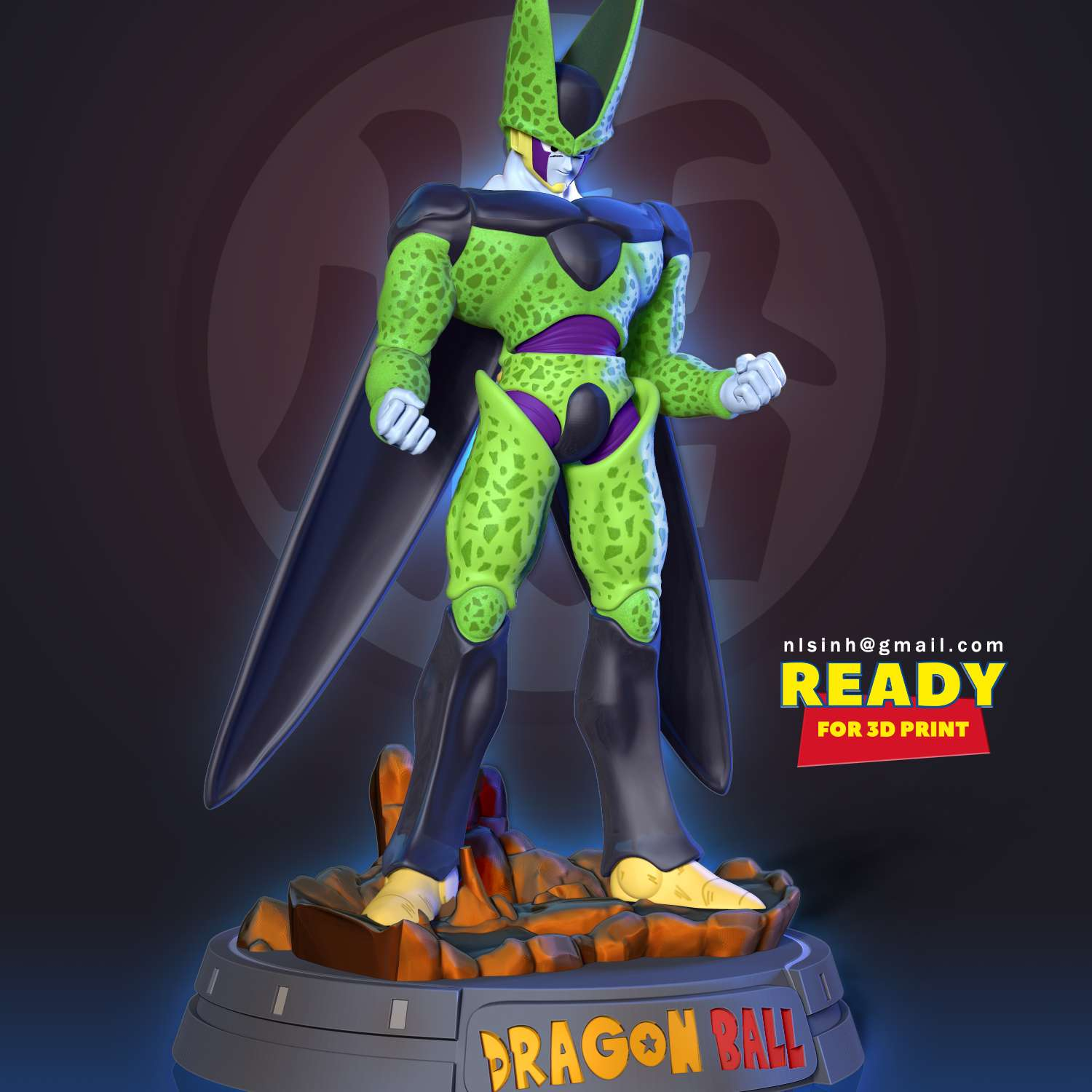 Cell - Dragon Ball - > It is a fact that some of the villains in Dragon Ball are very much loved by fans, and Cell is one of them.  When you purchase this model, you will own:  **- STL file with 13 separated files (with key to connect together) is ready for 3D printing.**  _This is version 1.0 of this model._  Hope you like him. Thanks for viewing! - The best files for 3D printing in the world. Stl models divided into parts to facilitate 3D printing. All kinds of characters, decoration, cosplay, prosthetics, pieces. Quality in 3D printing. Affordable 3D models. Low cost. Collective purchases of 3D files.